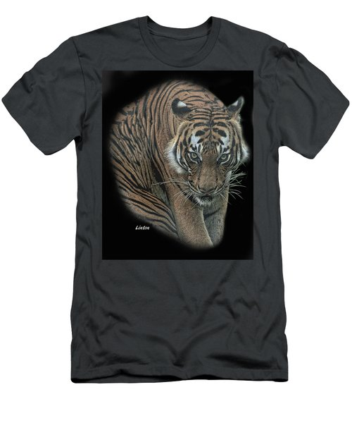 Men's T-Shirt (Athletic Fit) featuring the digital art Tiger 6 by Larry Linton