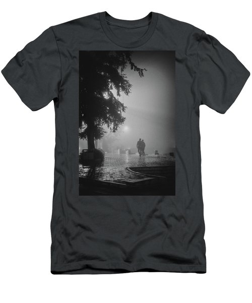 Men's T-Shirt (Athletic Fit) featuring the photograph Together In Fog, Sa Pa, 2014 by Hitendra SINKAR