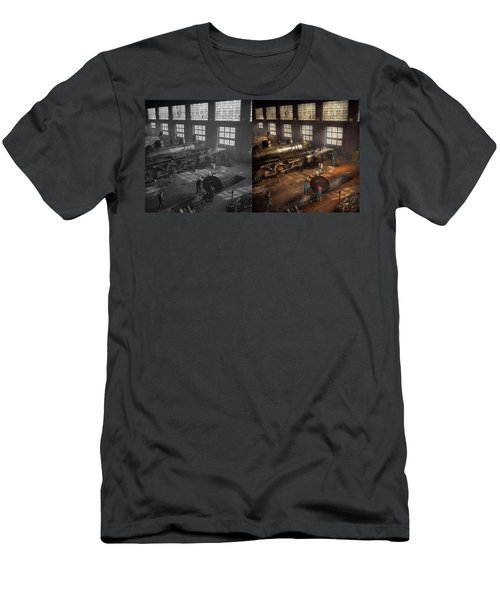Men's T-Shirt (Athletic Fit) featuring the photograph Train - Repair - Third Door On The Right 1942 - Side By Side by Mike Savad