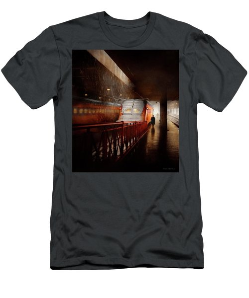 Men's T-Shirt (Athletic Fit) featuring the photograph Train - Retro - Last Train Of The Day 1943 by Mike Savad