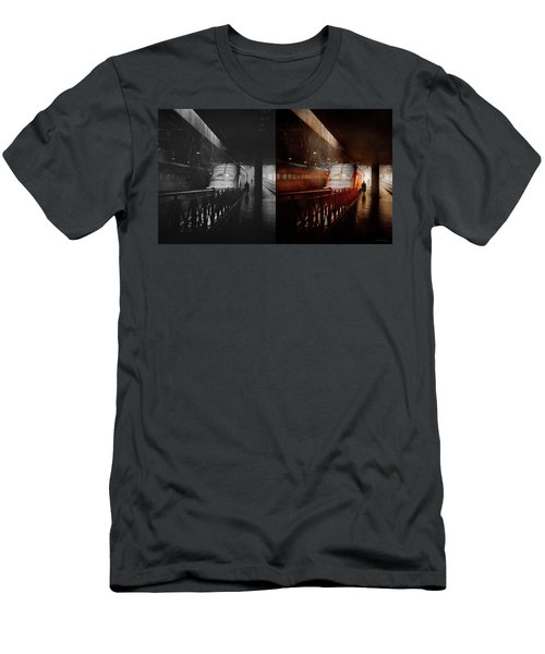 Men's T-Shirt (Athletic Fit) featuring the photograph Train - Retro - Last Train Of The Day 1943 - Side By Side by Mike Savad