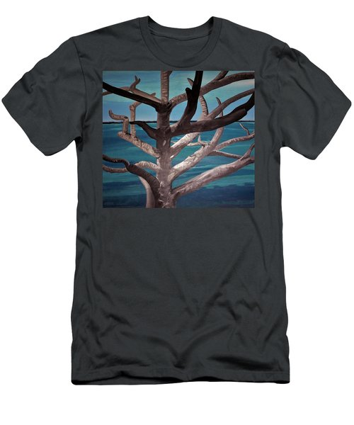 Men's T-Shirt (Athletic Fit) featuring the painting Tree And Beach by Joan Stratton