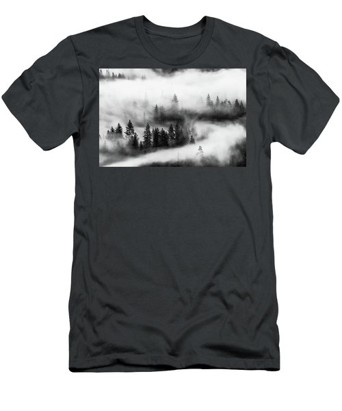 Men's T-Shirt (Athletic Fit) featuring the photograph Trees In The Mist 2 by Stephen Holst