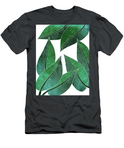 Tropical Leaf Illustration - Green - Botanical Art - Floral Design - Modern, Minimal Decor Men's T-Shirt (Athletic Fit)