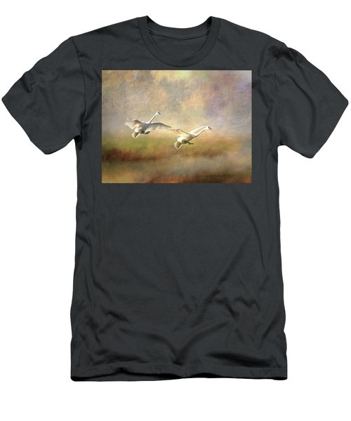 Trumpeter Swan Landing - Painterly Men's T-Shirt (Athletic Fit)