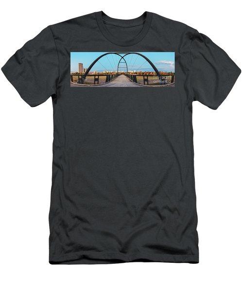 Twilight Panorama Of Bill Coats Bridge Over Brays Bayou - City Of Houston Texas Medical Center Men's T-Shirt (Athletic Fit)