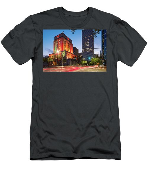 Twilight Photograph Of Houston City Hall Astros Baseball World Series 2017 - Downtown Houston Men's T-Shirt (Athletic Fit)