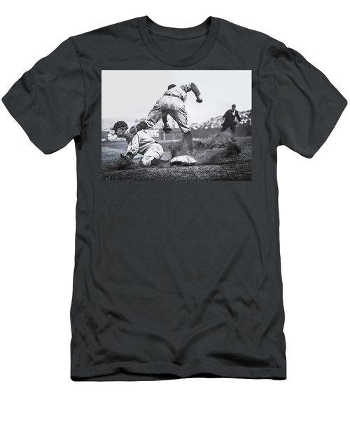 Ty Cobb Steals 3rd Base 1910 Men's T-Shirt (Athletic Fit)