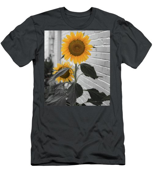 Urban Sunflower - Black And White Men's T-Shirt (Athletic Fit)