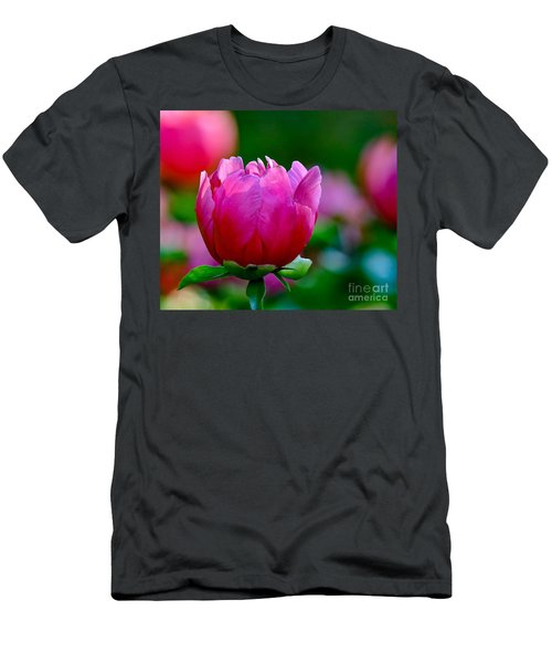Vibrant Pink Peony Men's T-Shirt (Athletic Fit)