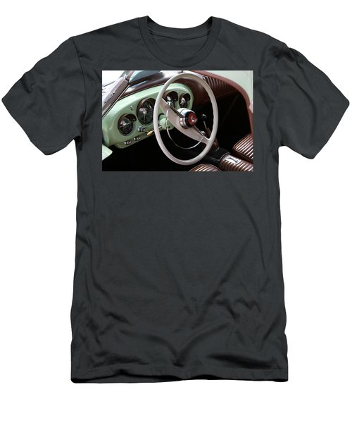 Men's T-Shirt (Athletic Fit) featuring the photograph Vintage Kaiser Darrin Automobile Interior by Debi Dalio