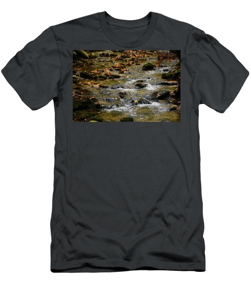 Men's T-Shirt (Athletic Fit) featuring the photograph Water Navigates The Rocks by Raymond Salani III