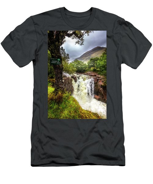Waterfall At The Ben Nevis Mountain Men's T-Shirt (Athletic Fit)