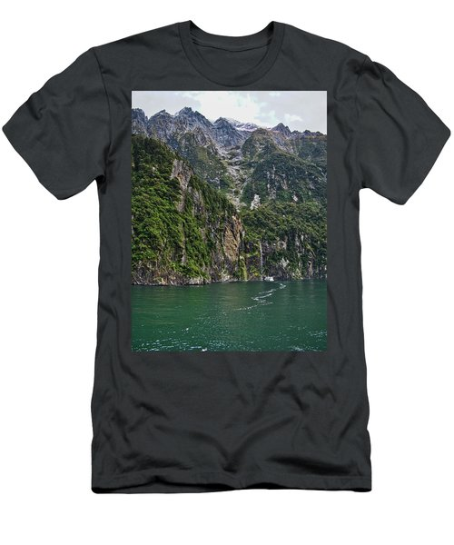 Men's T-Shirt (Athletic Fit) featuring the photograph Waterfall - Milford Sound - New Zealand by Steven Ralser
