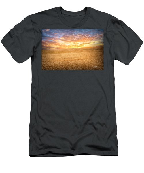 Men's T-Shirt (Athletic Fit) featuring the photograph Wheatfield Sunset by Mike Braun
