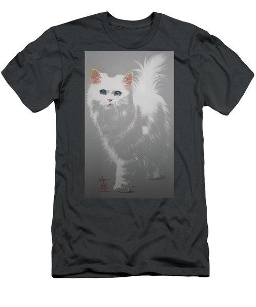 White Angora Cat Men's T-Shirt (Athletic Fit)