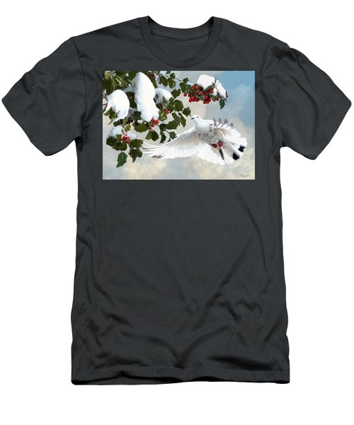 White Dove And Holly Men's T-Shirt (Athletic Fit)