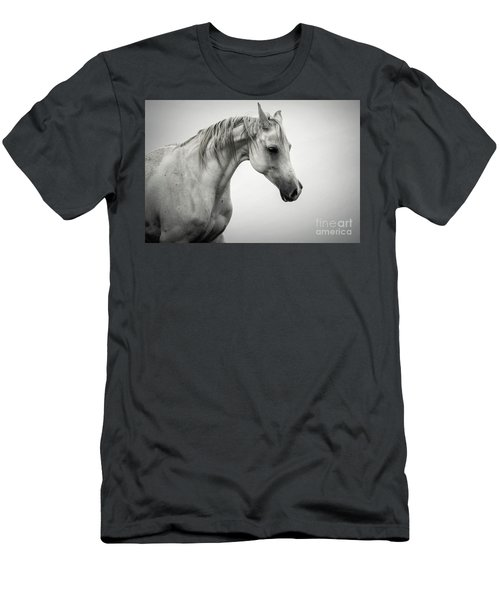 Men's T-Shirt (Athletic Fit) featuring the photograph White Horse Winter Mist Portrait by Dimitar Hristov