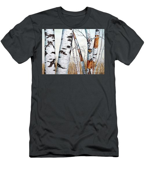 Wild Birch Trees In The Forest In Watercolor Men's T-Shirt (Athletic Fit)