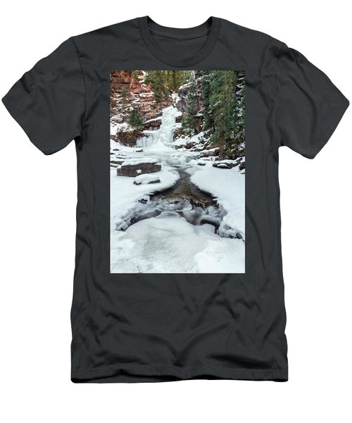 Men's T-Shirt (Athletic Fit) featuring the photograph Winter Falls by Angela Moyer