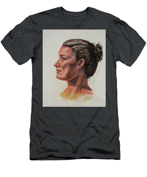 Woman Head Study Pastel Portrait  Men's T-Shirt (Athletic Fit)
