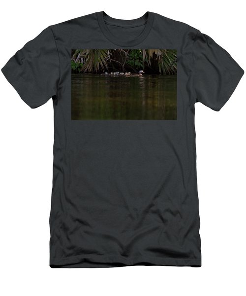 Wood Duck And Ducklings Men's T-Shirt (Athletic Fit)