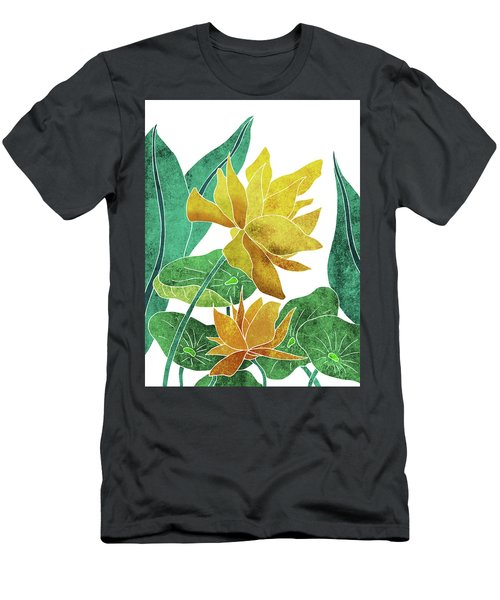 Yellow Lotus Flower - Botanical, Floral, Tropical Art - Modern, Minimal Decor - Yellow, Green Men's T-Shirt (Athletic Fit)