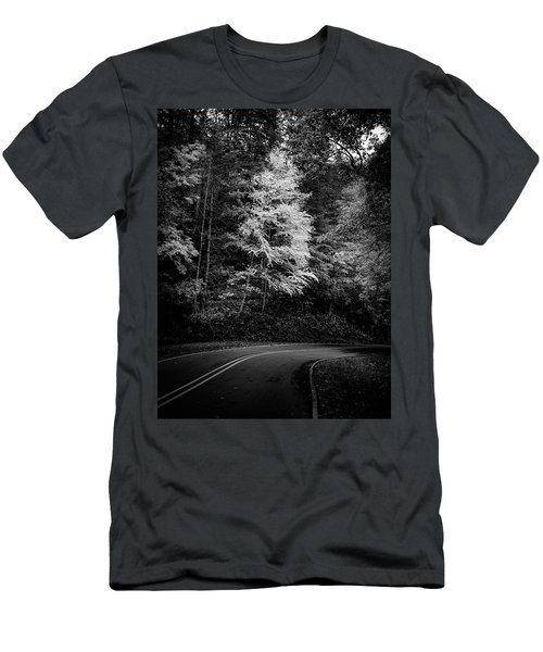 Yellow Tree In The Curve In Black And White Men's T-Shirt (Athletic Fit)