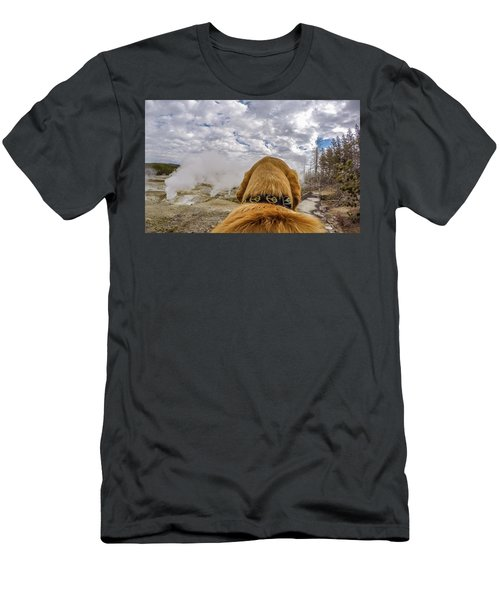 Men's T-Shirt (Athletic Fit) featuring the photograph Yellowstone By Photo Dog Jackson by Matthew Irvin