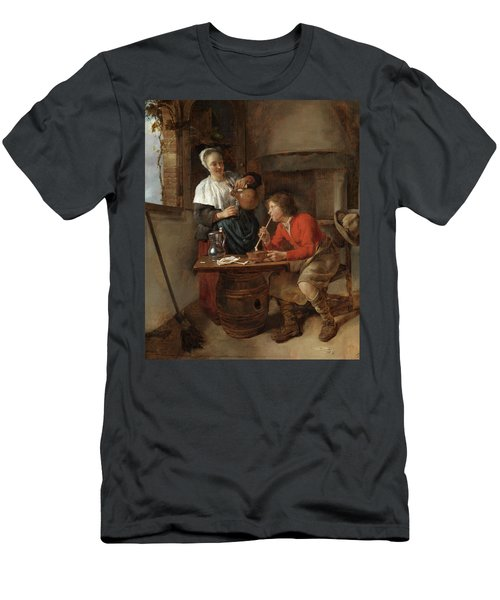 Young Man Smoking And A Woman Pouring Beer Men's T-Shirt (Athletic Fit)