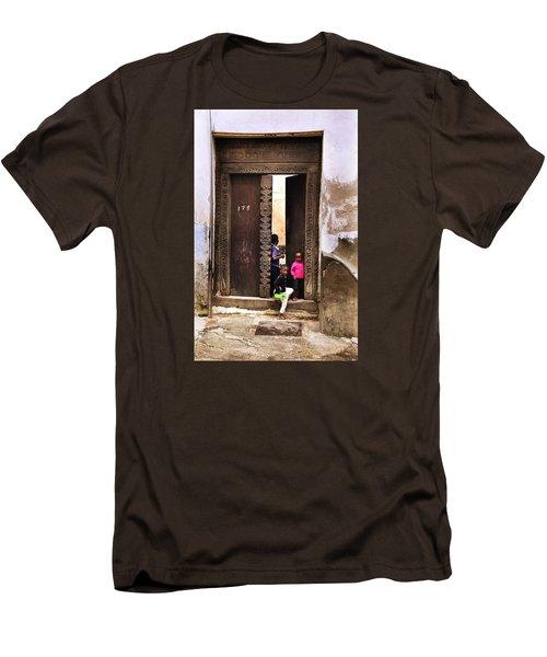 Men's T-Shirt (Slim Fit) featuring the photograph Kids Playing Zanzibar Unguja Doorway by Amyn Nasser