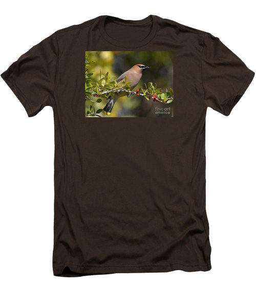 Men's T-Shirt (Slim Fit) featuring the photograph Cedar Waxwing And Red Berries by Kathy Baccari