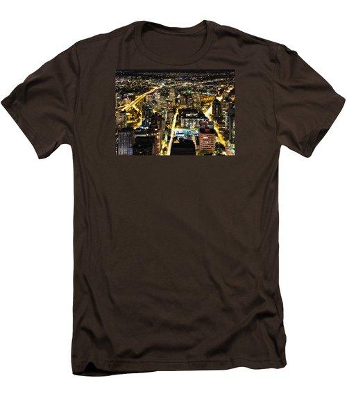 Men's T-Shirt (Slim Fit) featuring the photograph Cityscape Golden Burrard Bridge Mdlxiv by Amyn Nasser