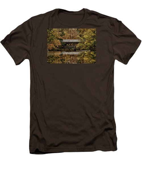 Men's T-Shirt (Slim Fit) featuring the photograph Covered Bridge At Sturbridge Village by Jeff Folger