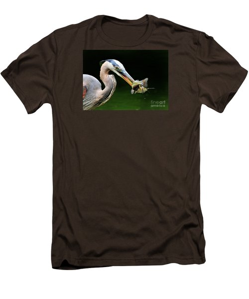 Men's T-Shirt (Slim Fit) featuring the photograph Great Blue Heron And The Catfish by Kathy Baccari