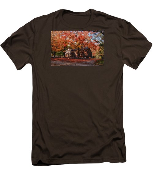 Men's T-Shirt (Slim Fit) featuring the photograph Hartwell Tavern Under Canopy Of Fall Foliage by Jeff Folger
