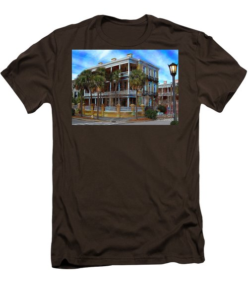 Men's T-Shirt (Slim Fit) featuring the photograph Historic Charleston Mansion by Kathy Baccari