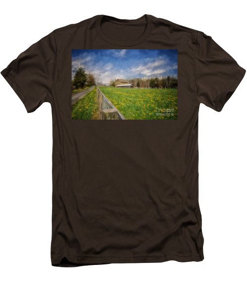 Men's T-Shirt (Slim Fit) featuring the photograph Stone Barn On A Spring Morning by Lois Bryan