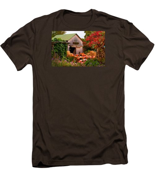 Men's T-Shirt (Slim Fit) featuring the photograph Vermont Pumpkins And Autumn Flowers by Jeff Folger