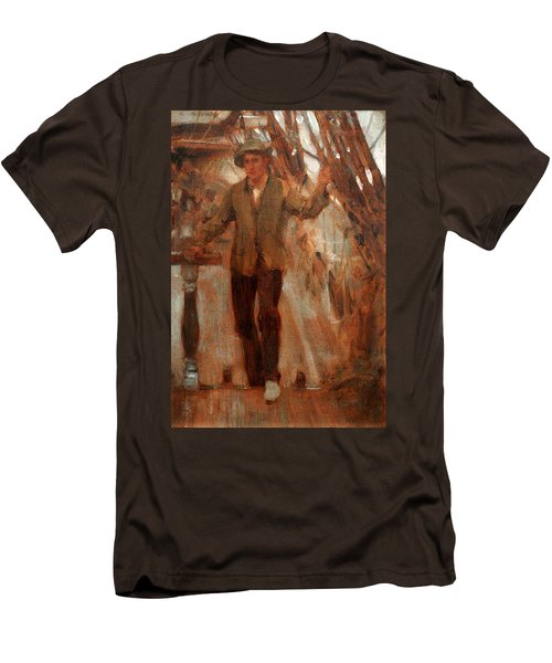 Men's T-Shirt (Slim Fit) featuring the painting At The Break Of The Poop  by Henry Scott Tuke