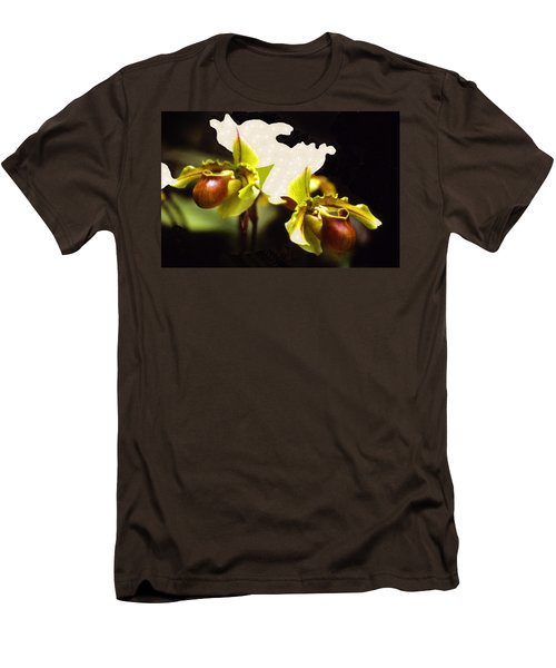 Men's T-Shirt (Slim Fit) featuring the mixed media Paphiopedilum Orchid by Rosalie Scanlon