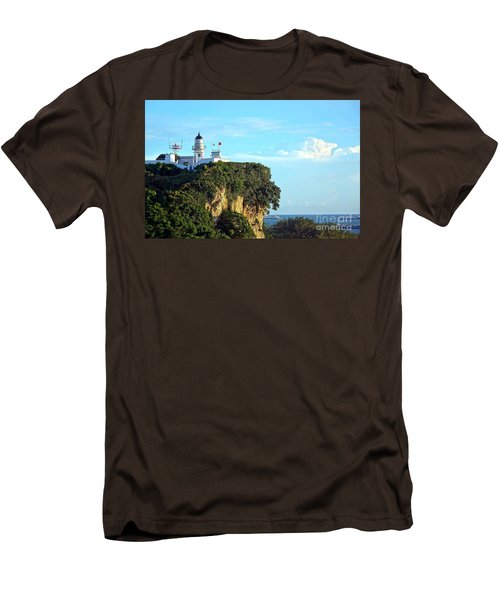 Men's T-Shirt (Slim Fit) featuring the photograph Old Lighthouse Overlooking Kaohsiung Harbor by Yali Shi