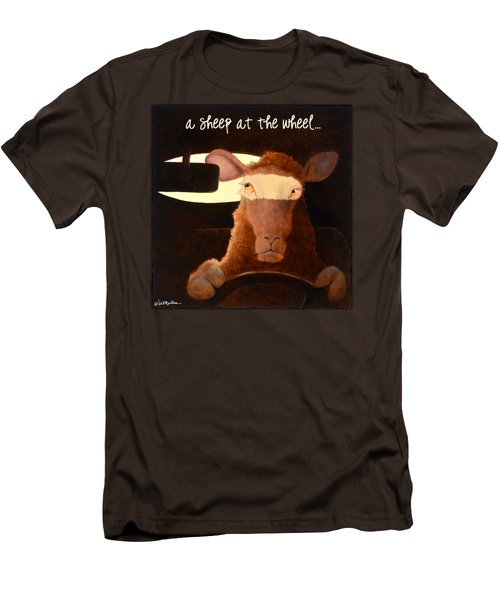 A Sheep At The Wheel... Men's T-Shirt (Slim Fit) by Will Bullas