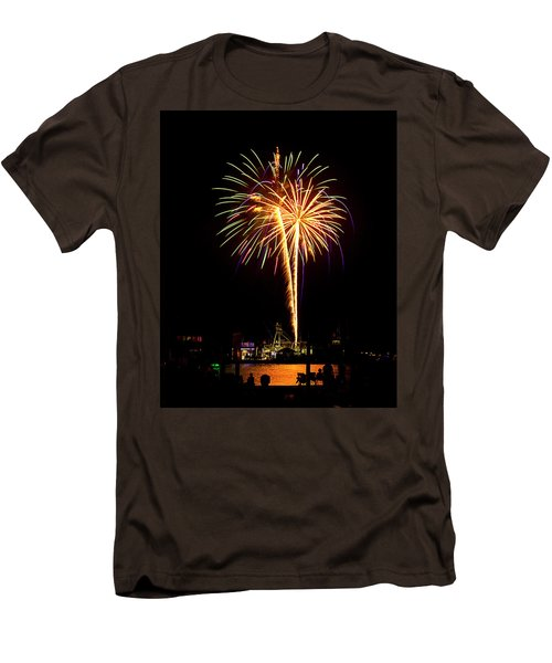 Men's T-Shirt (Slim Fit) featuring the photograph 4th Of July Fireworks by Bill Barber