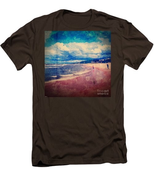 Men's T-Shirt (Slim Fit) featuring the photograph A Day At The Beach by Phil Perkins