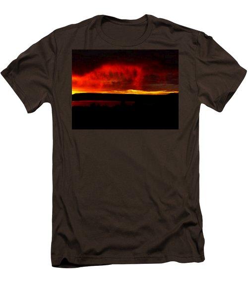 Men's T-Shirt (Slim Fit) featuring the painting Abiquiu Reservoir  by Dennis Ciscel