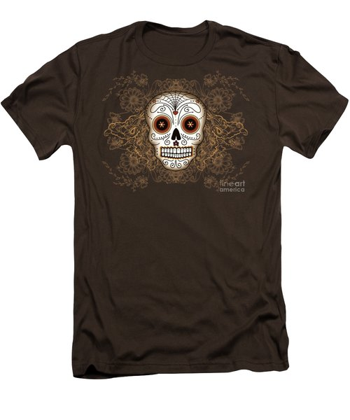 Vintage Sugar Skull Men's T-Shirt (Slim Fit) by Tammy Wetzel