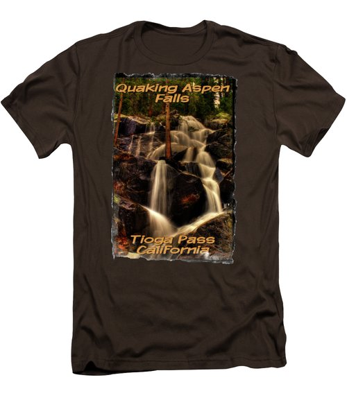 Quaking Aspen Falls Along Tioga Pass  Men's T-Shirt (Slim Fit) by Roger Passman