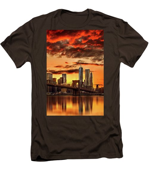 Blazing Manhattan Skyline Men's T-Shirt (Slim Fit) by Az Jackson