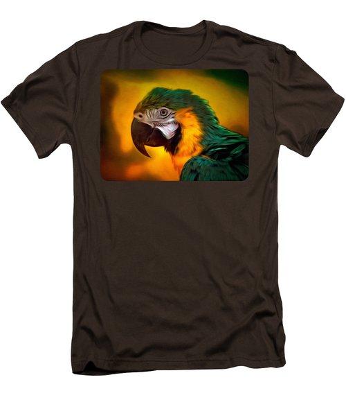 Blue Macaw Parrot Portrait Men's T-Shirt (Slim Fit) by Linda Koelbel